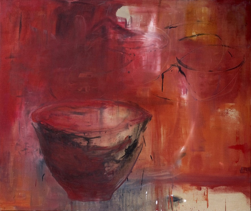 8 Bowl rouge Mixed media on canevas h180X200cm